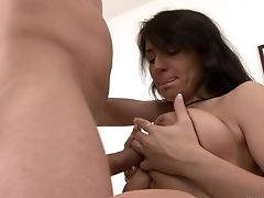 Big Natural Tits, Big Tits, Blowjob, Brunette, Couch, Couple, Cunnilingus, Doggystyle, Hardcore, High Heels,