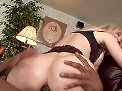 Anal Sex, Big Black Cock, Blonde, Blowjob, Couch, Cum In Mouth, Doggystyle, Extreme, Fake Tits, Fingering,