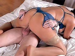 Ass, Beauty, Bedroom, Big Cock, Big Tits, Blowjob, Bodystocking, Brunette, Cum, Feet,