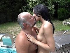 Blowjob, Boobless, Brunette, Grandpa, Natural Tits, Old, Old And Young, Oral Sex, Outdoor, Shaved Pussy,