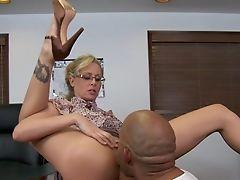 Big Ass, Big Black Cock, Big Cock, Blonde, Clothed Sex, Cute, Desk, Fat, From Behind, Glasses,