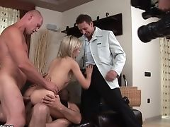 Blonde, Brunette, Double Penetration, Sasha Rose, Teen, Threesome,