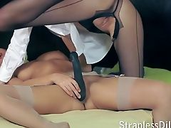 Dildo, High Heels, Lingerie, Office, Pantyhose, Skinny, Strapon,
