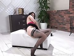 Amazing, Big Tits, Brunette, Horny, Jerking, Masturbation, Solo, Stockings, Striptease,