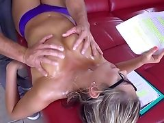 Ass, Blowjob, Cameltoe, Couch, Cum In Mouth, Cumshot, Glasses, Hardcore, HD, Massage,
