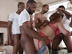 Ass, Big Black Cock, Big Tits, Black, Blowjob, Brunette, Curly, Doggystyle, Domination, Gagging,