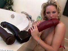 Big Tits, Dildo, Huge Dildo, Masturbation, MILF, Sex Toys, Squirting,