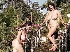 BBW, Big Tits, Bikini, Brunette, Curvy, Cute, Funny, Garden, Girlfriend, Lesbian,