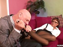 Blowjob, Bra, Couple, Cowgirl, Doggystyle, Fetish, Fingering, Foot Fetish, Glasses, Hardcore,