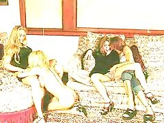 Alex Taylor, Babe, Blonde, Fake Tits, Fingering, Foursome, Lesbian,