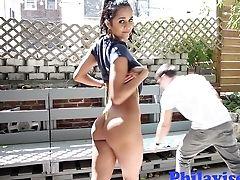Brazilian, Brunette, Cute, Handjob, Outdoor,