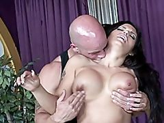 Ass, Big Ass, Big Tits, Blowjob, Bold, Brunette, Clamp, Couple, Cowgirl, Doggystyle,